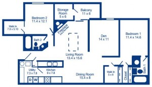 Two Bedroom with Den